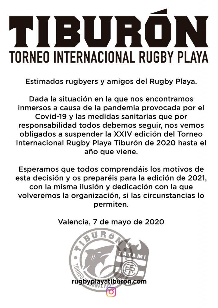 Cancelación torneo 2020